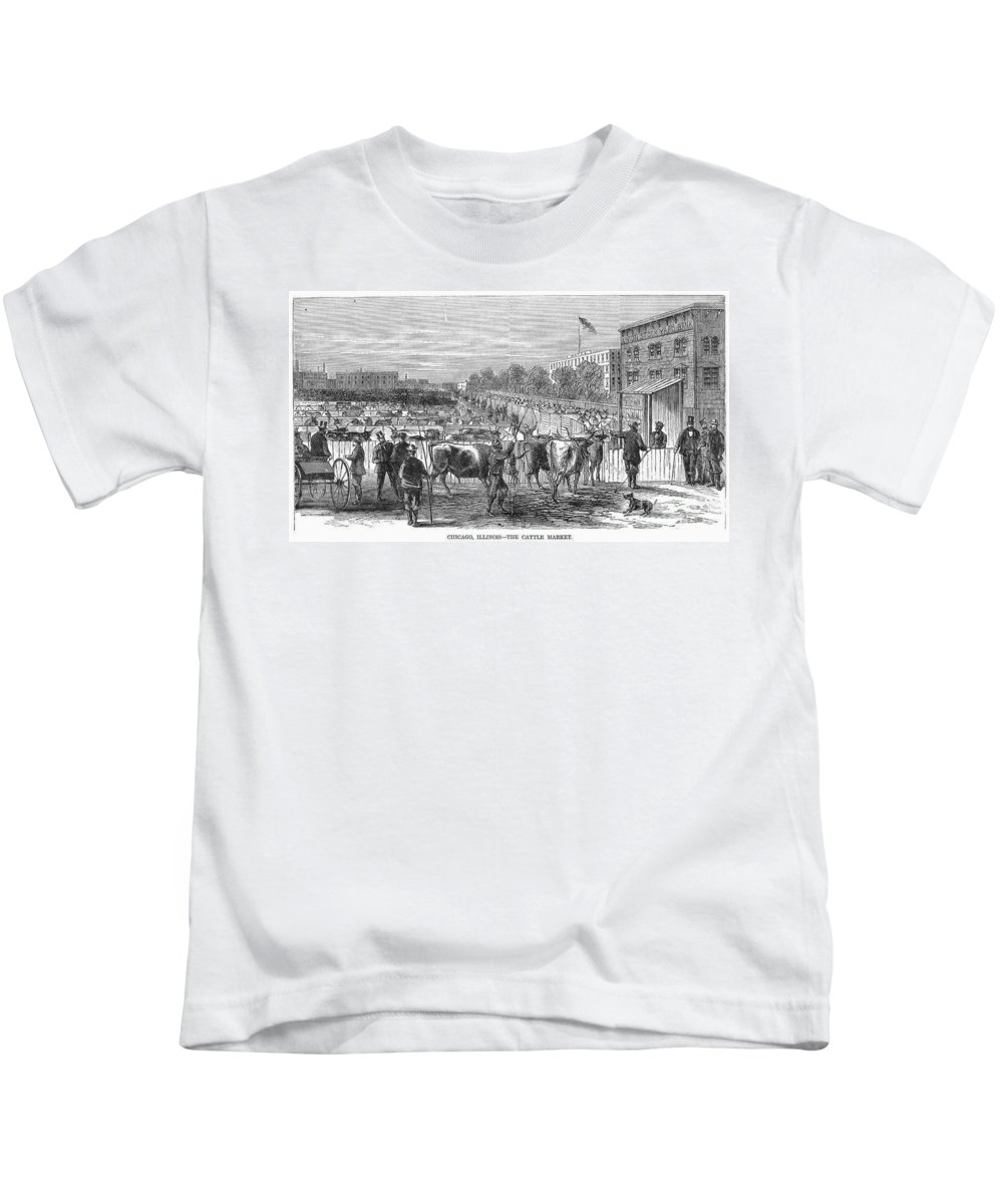 1868 Kids T-Shirt featuring the photograph Chicago: Cattle Market by Granger