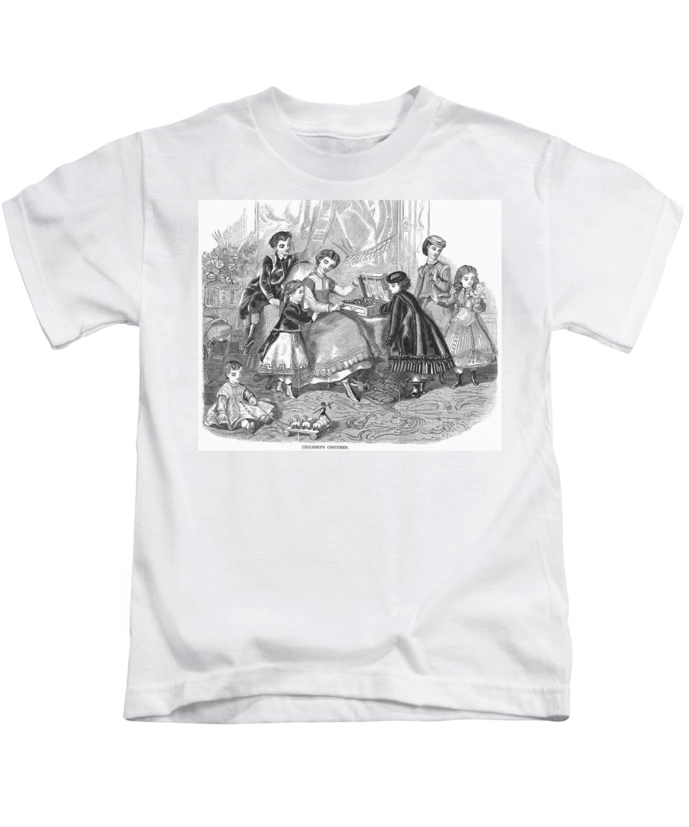 1868 Kids T-Shirt featuring the photograph Childrens Fashion, 1868 by Granger