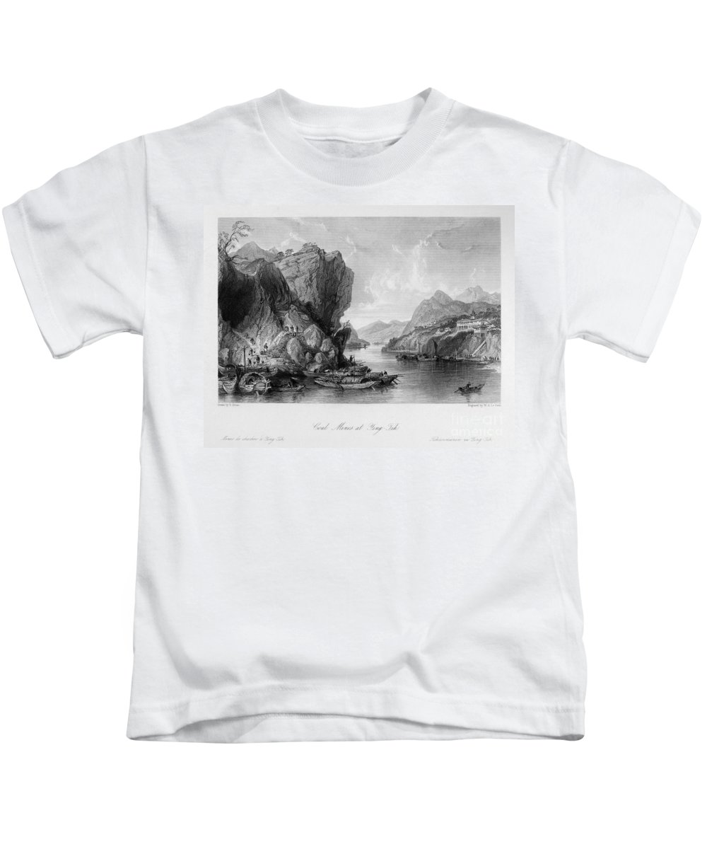 1843 Kids T-Shirt featuring the photograph China: Coal Mining, 1843 by Granger