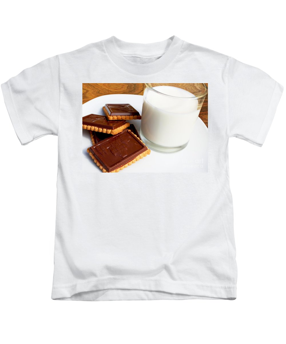 Chocolate Coated Butter Cookies Kids T-Shirt featuring the photograph Chocolate Coated Butter Cookies and Milk by Barbara Griffin