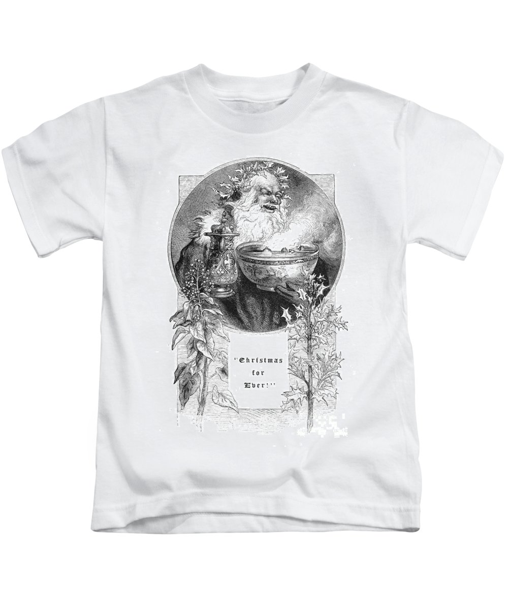 1879 Kids T-Shirt featuring the photograph Christmas Card, 1879 by Granger