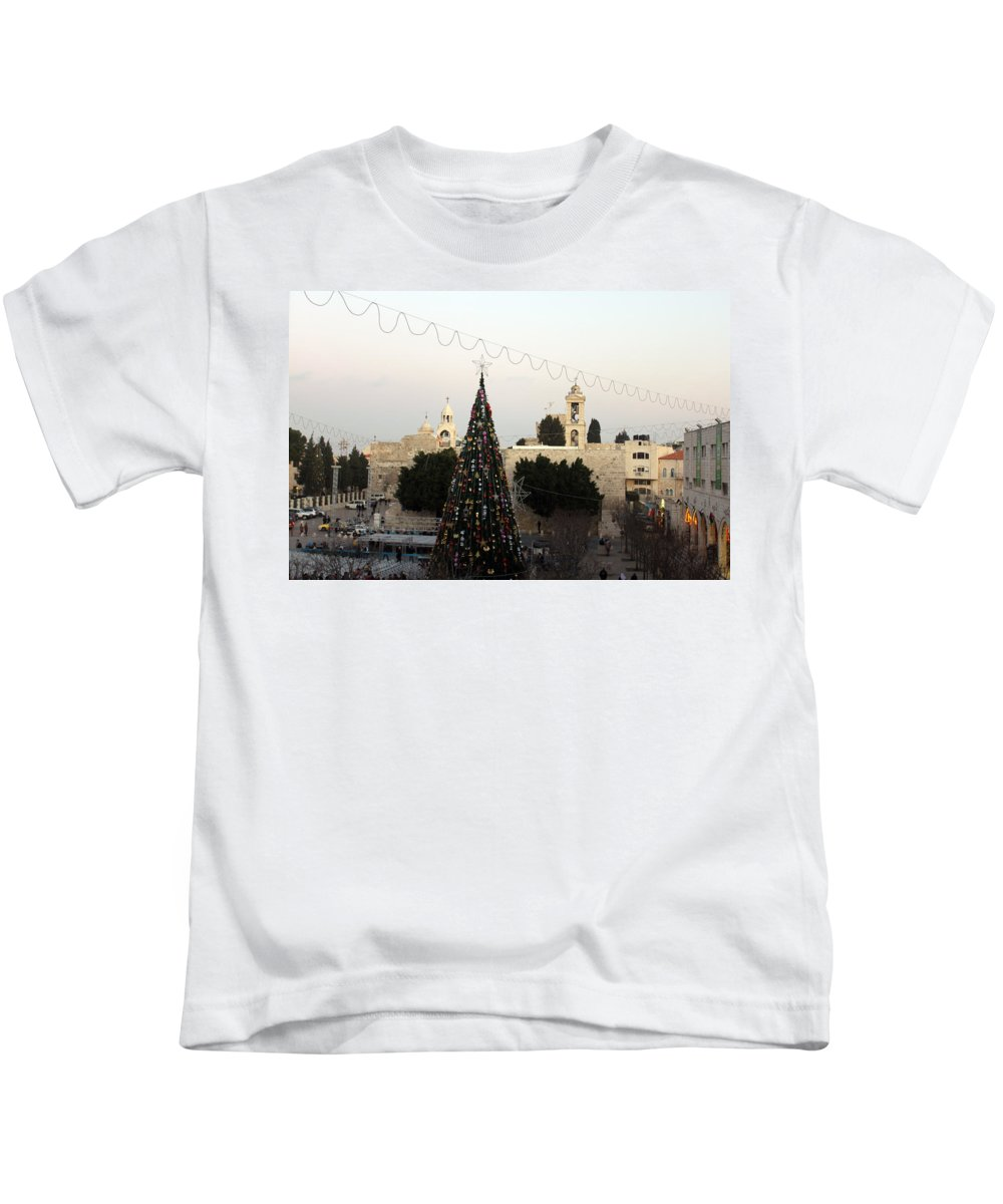 Manger Kids T-Shirt featuring the photograph Christmas Tree In Manger Square Bethlehem by Munir Alawi