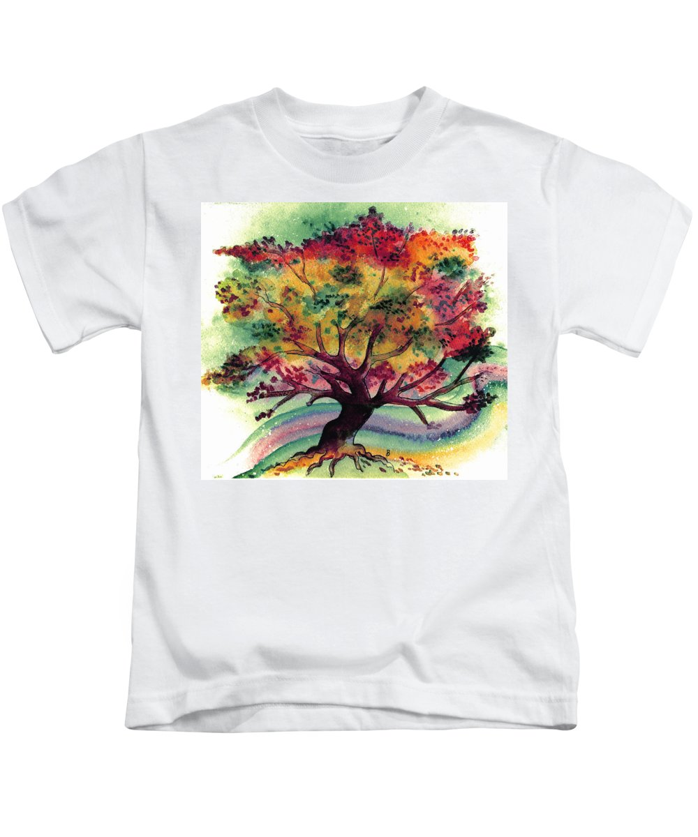 Watercolor Kids T-Shirt featuring the painting Clad In Color by Brenda Owen