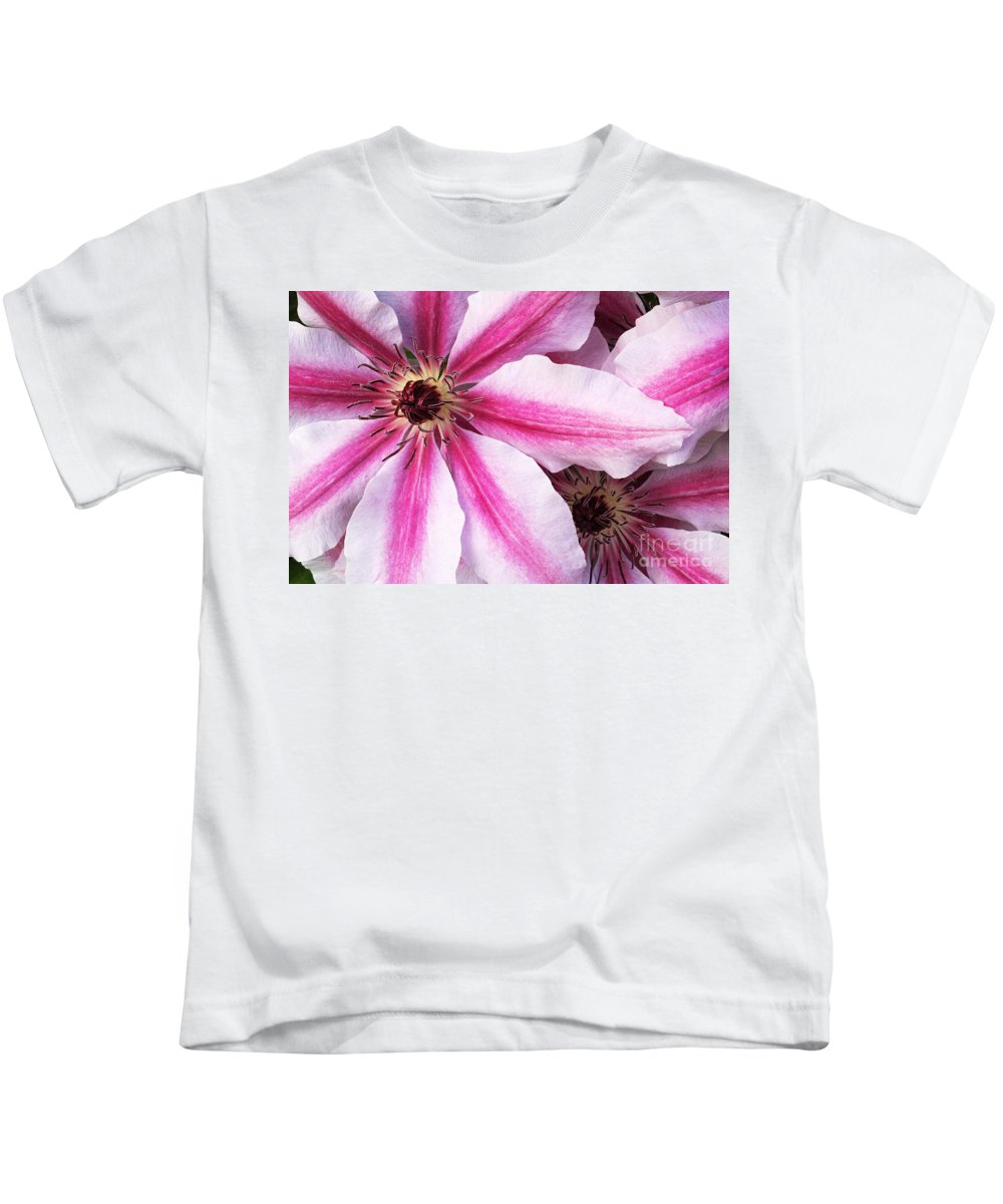 Clematis Kids T-Shirt featuring the photograph Clematis Close Up by Mike Nellums