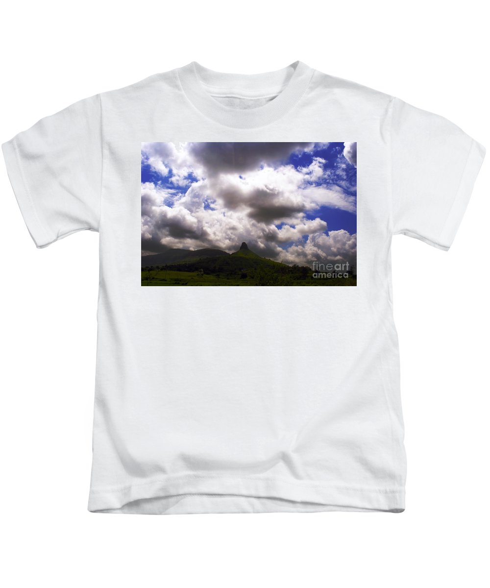 Village Kids T-Shirt featuring the photograph Clouded Hills At Nasik India by Sumit Mehndiratta
