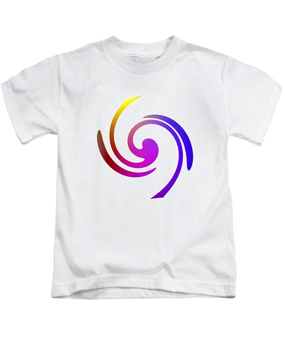Form Forms Black White Triangle Geometric Abstract Art Minimalism Spiral Digital Painting Color Colorful Kids T-Shirt featuring the digital art Color Spiral by Steve K