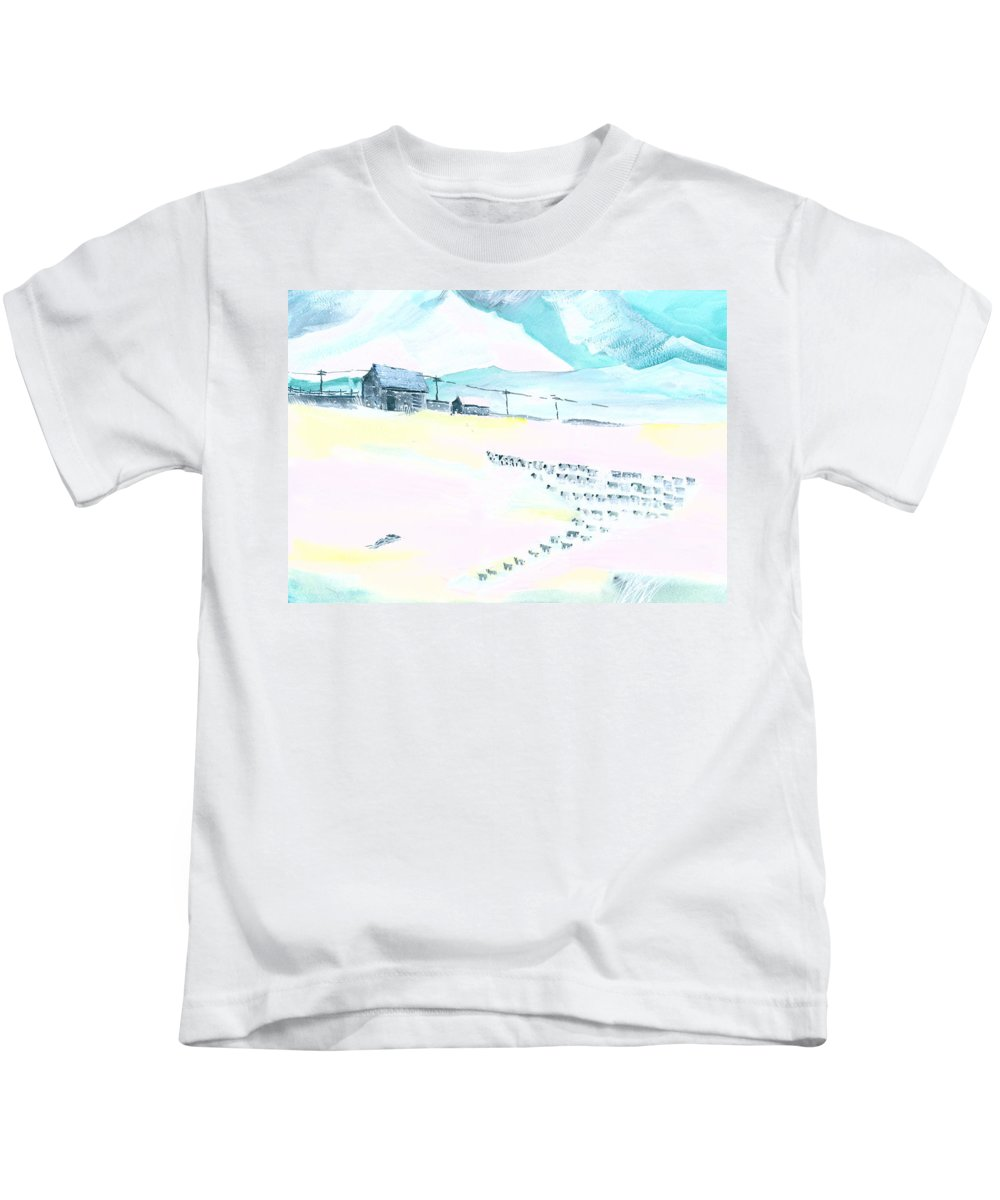 Landscape Kids T-Shirt featuring the painting Coming Home by Anil Nene