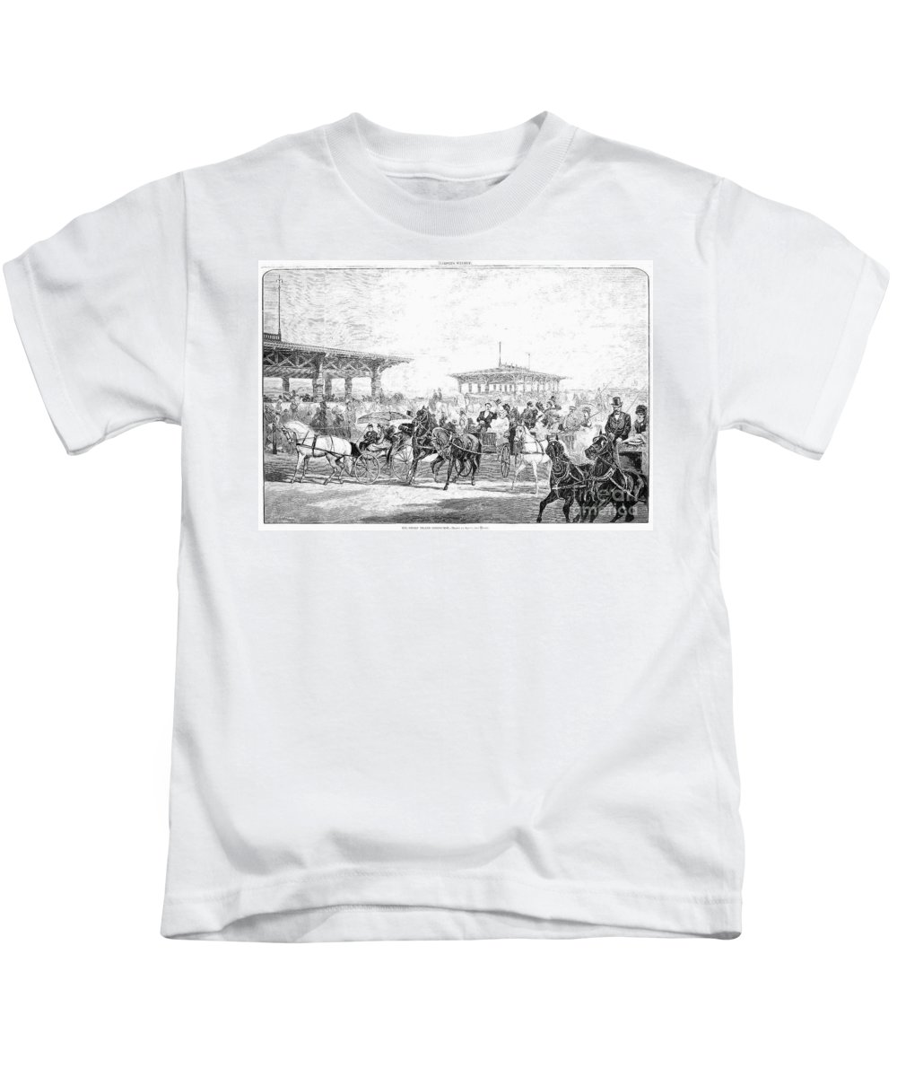 1877 Kids T-Shirt featuring the photograph Coney Island, 1877 by Granger