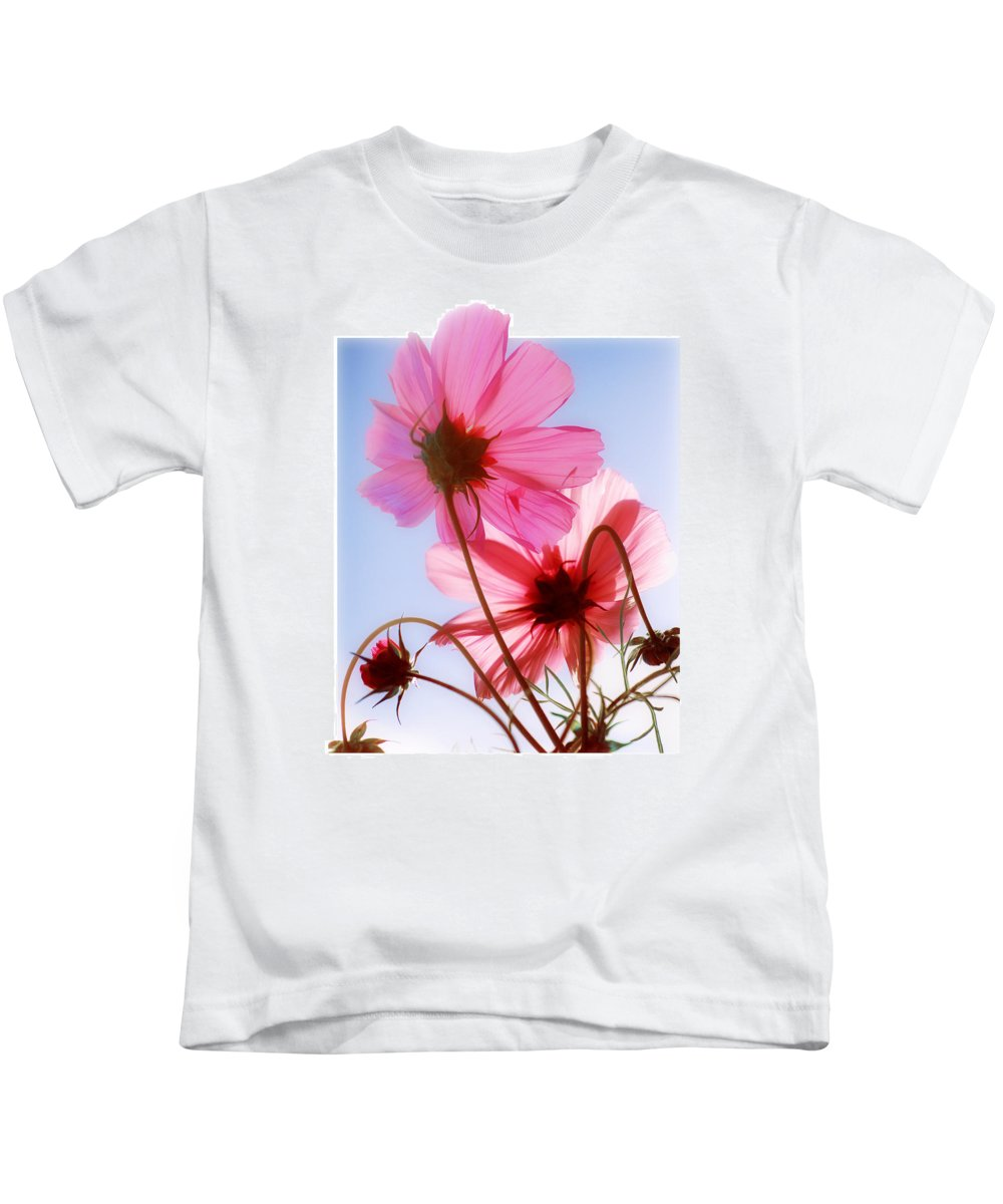 Cosmos Kids T-Shirt featuring the photograph Cosmos Flowers by Mal Bray