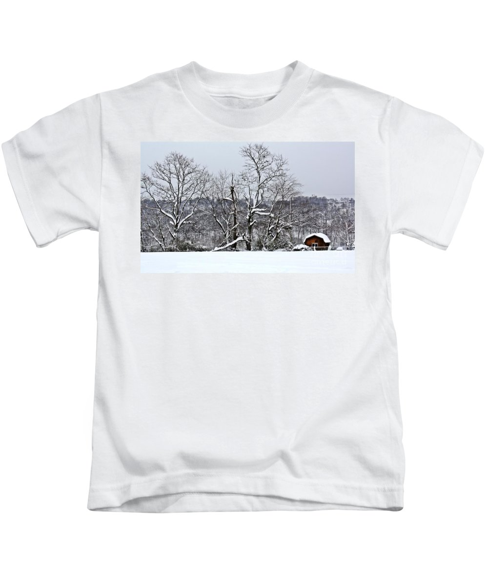 Alone Kids T-Shirt featuring the photograph Country Christmas 5 by Dan Stone