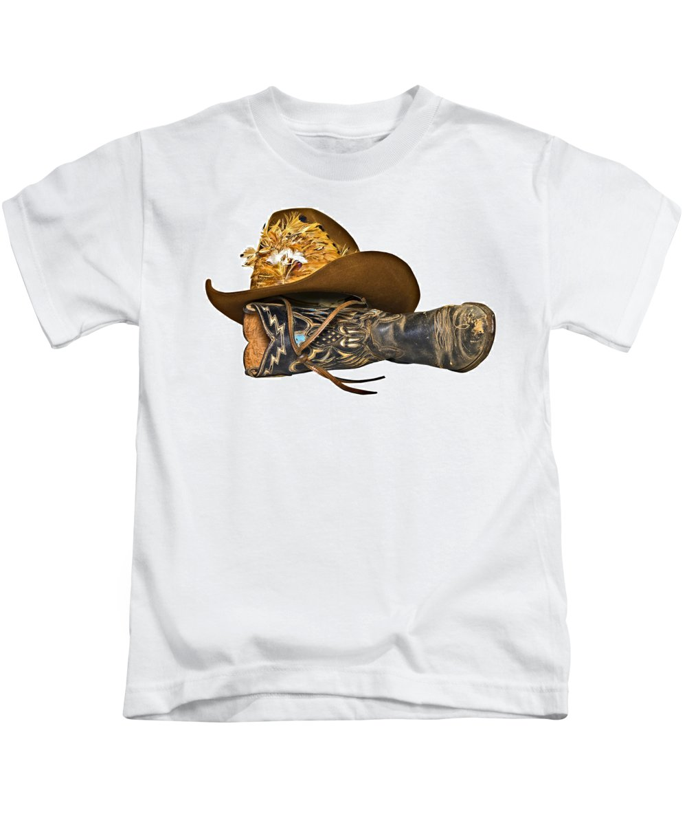 Cowboy Kids T-Shirt featuring the photograph Cowboy Hat And Boot by Susan Leggett