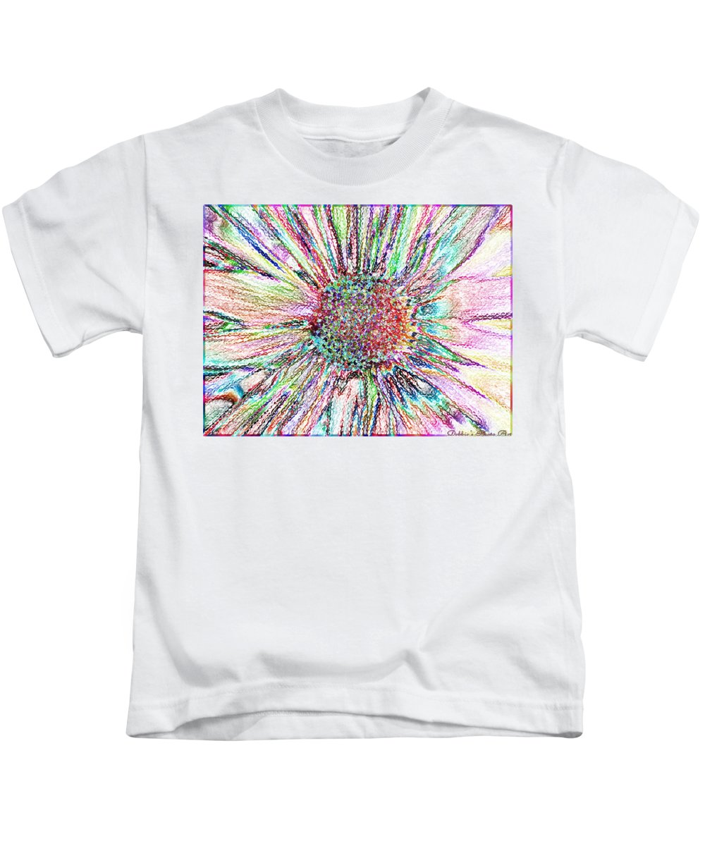 Flowers Kids T-Shirt featuring the photograph Crazy Daisy Colored Pencil Photoart by Debbie Portwood