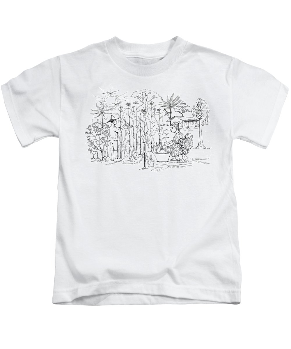 Mais Harvest Kids T-Shirt featuring the drawing Daily Life In South And Center Cameroon 01 by Emmanuel Baliyanga