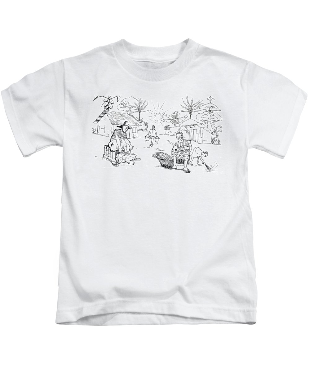 Africa Kids T-Shirt featuring the drawing Daily Life In South And Center Cameroon 03 by Emmanuel Baliyanga