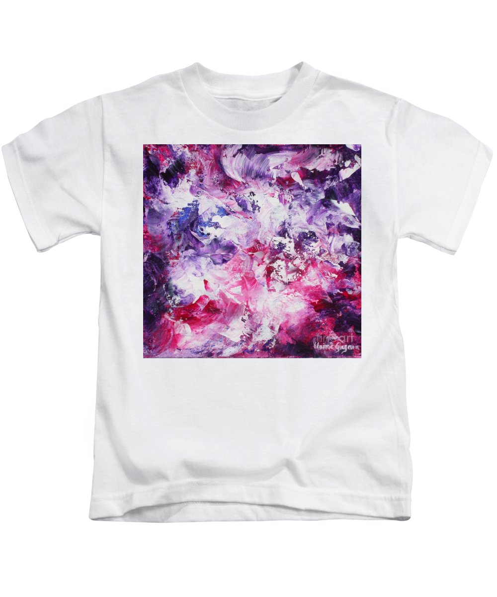 Abstract Kids T-Shirt featuring the painting Dancers by Claire Gagnon