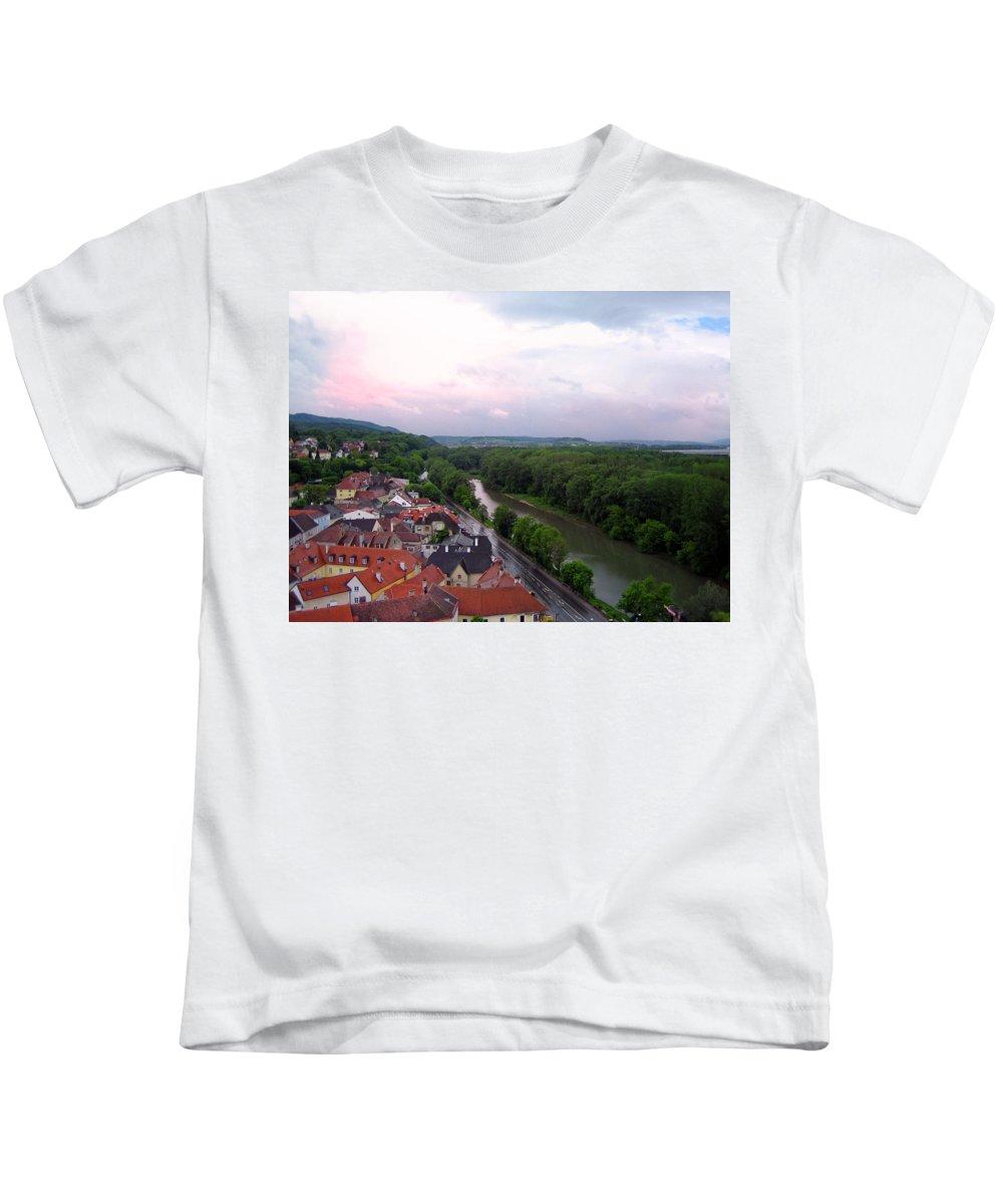Danube River Kids T-Shirt featuring the photograph Danube Dream by Linda Dunn