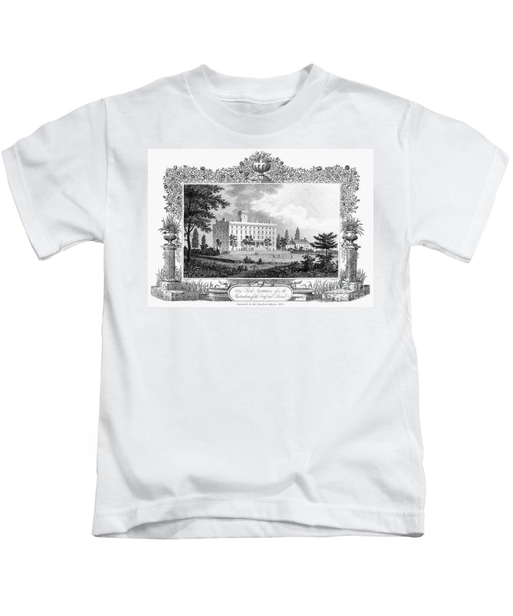 1835 Kids T-Shirt featuring the photograph Deaf And Dumb Asylum, 1835 by Granger