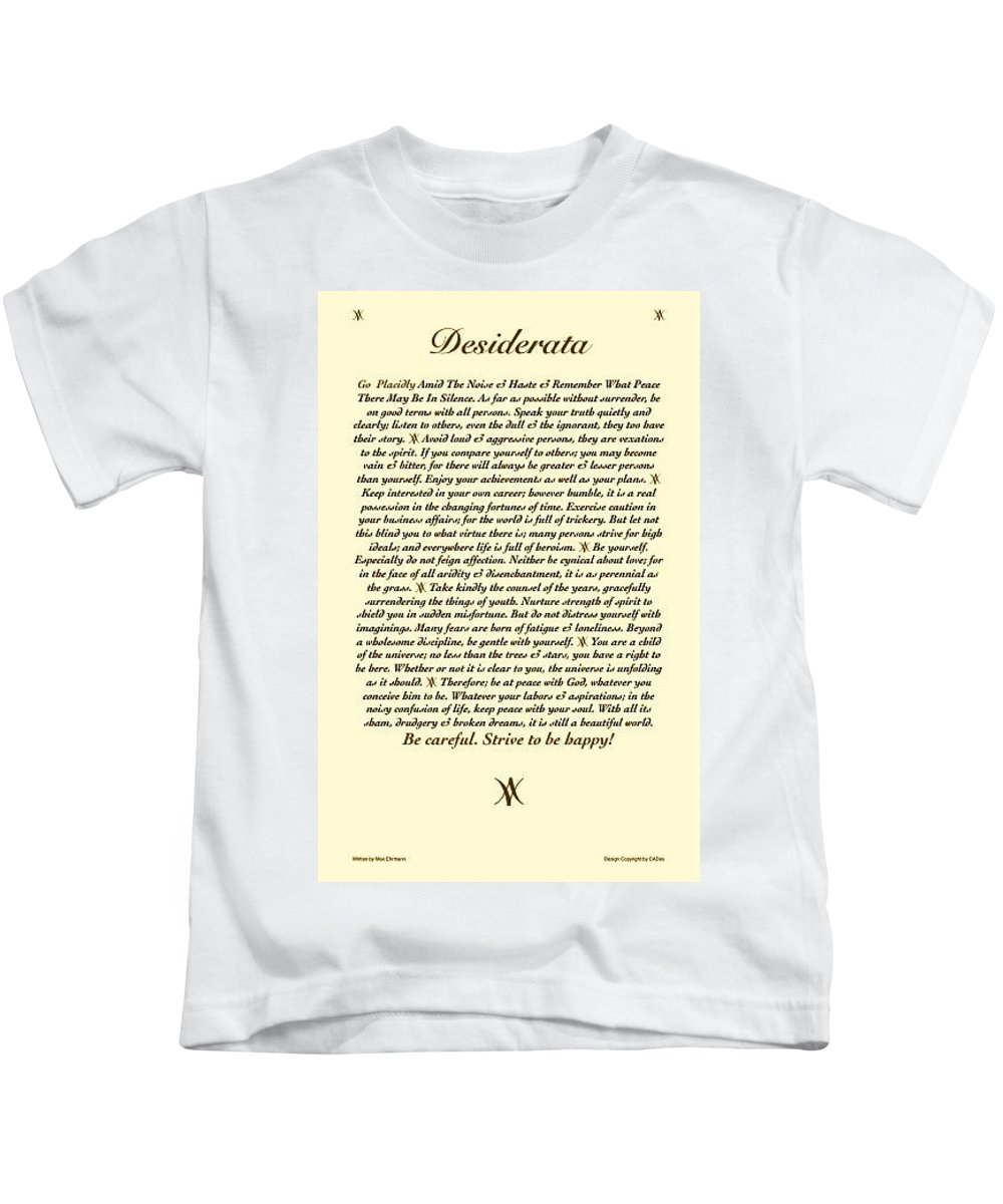 Desiderata Poem Poster Art Print Kids T-Shirt featuring the mixed media Desiderata Antiqued My Desi by Desiderata Gallery