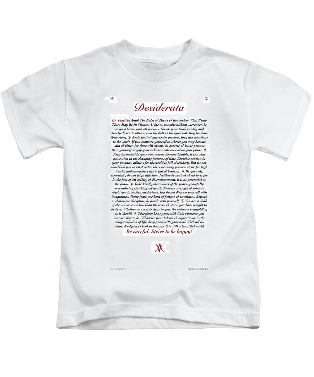 Desiderata Poster Art Print Kids T-Shirt featuring the mixed media Desiderata Mydesi With Wine by Desiderata Gallery