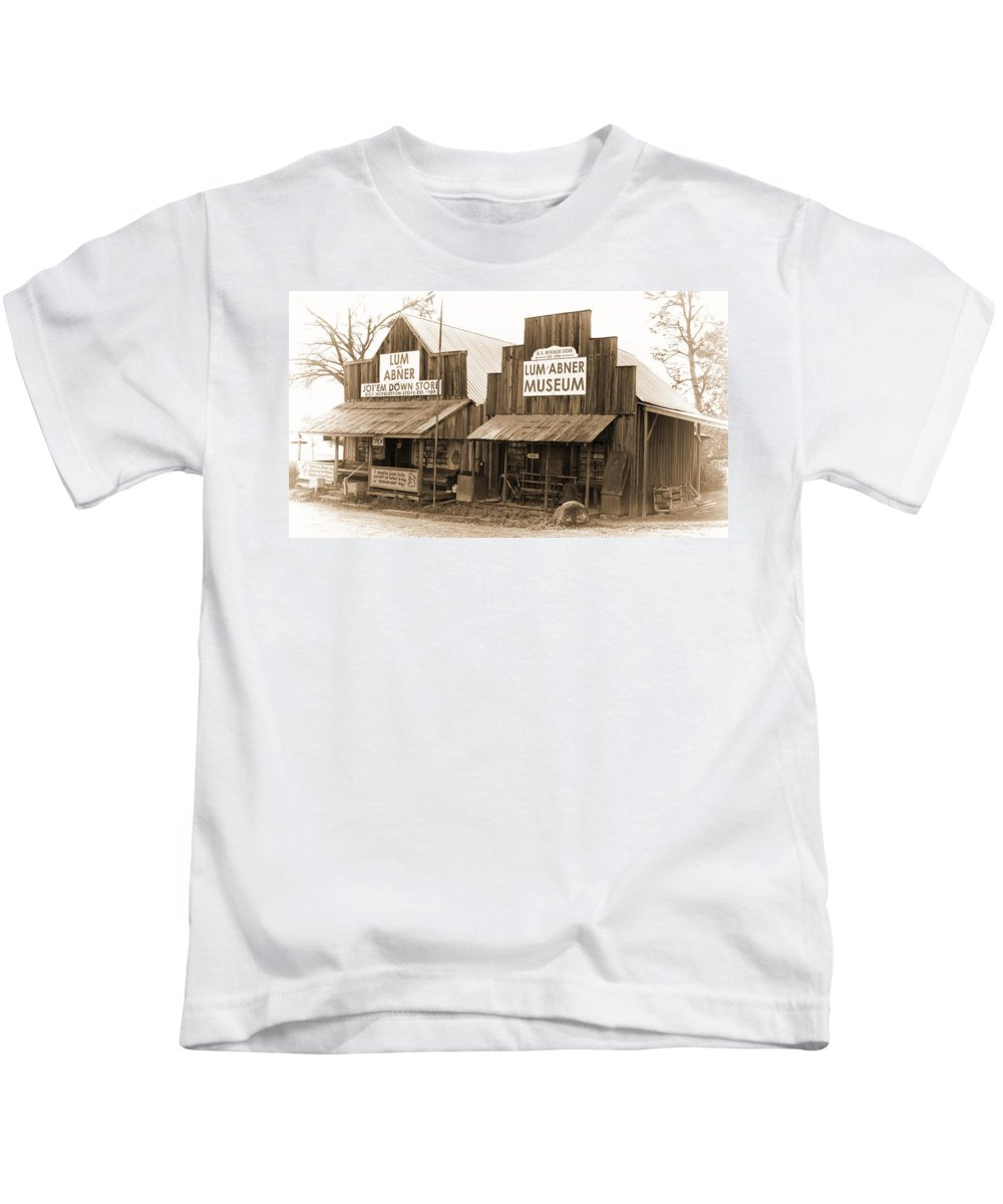 Dick Huddleston Store -ouachita Mountains Kids T-Shirt featuring the photograph Dick Huddleston Store Est. 1909 by Douglas Barnard