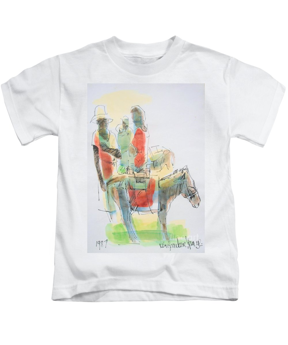 Ken Spencer Kids T-Shirt featuring the painting Donkey Lady by Carey Chen