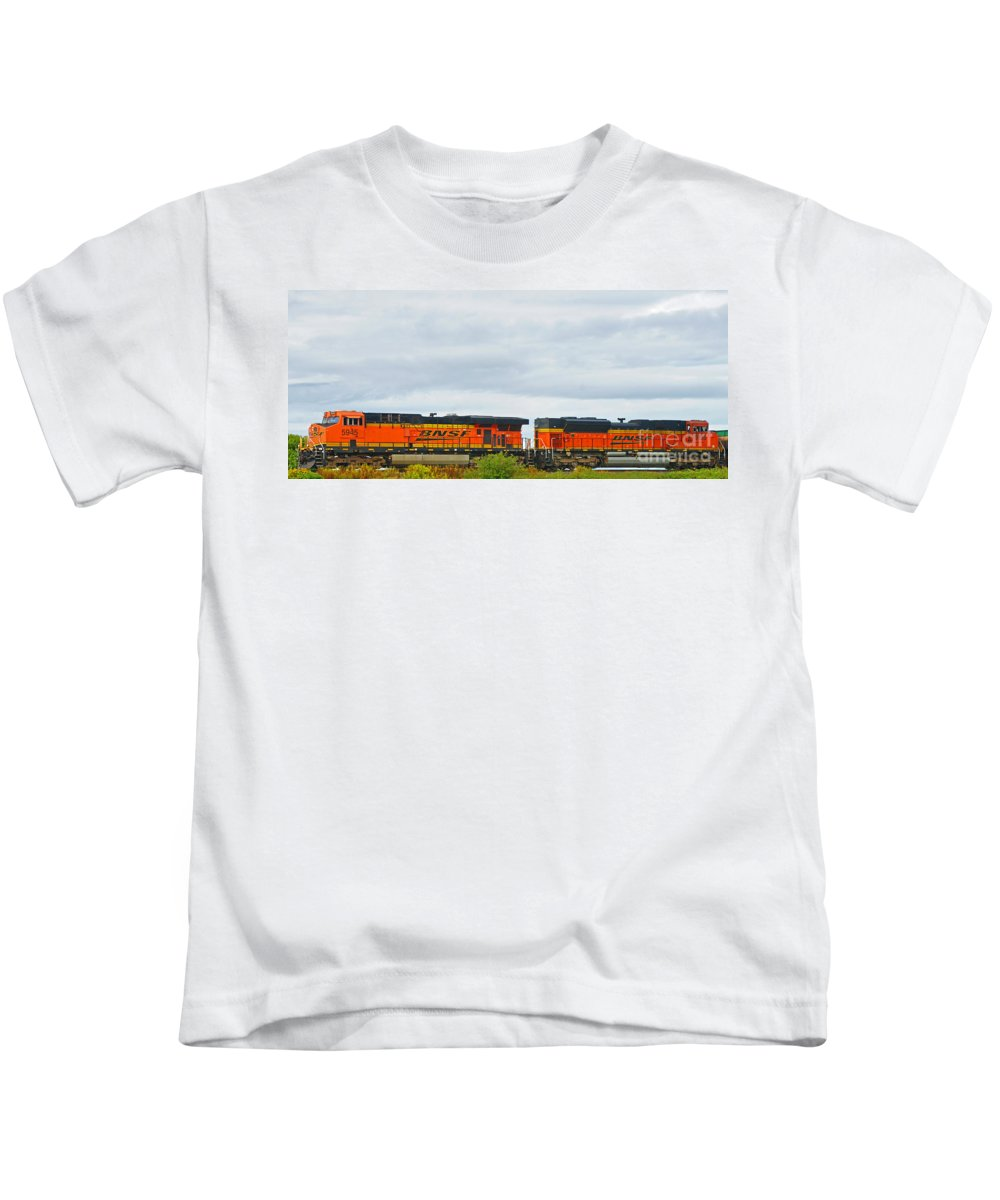 Trains Kids T-Shirt featuring the photograph Double Bnsf Engines by Randy Harris
