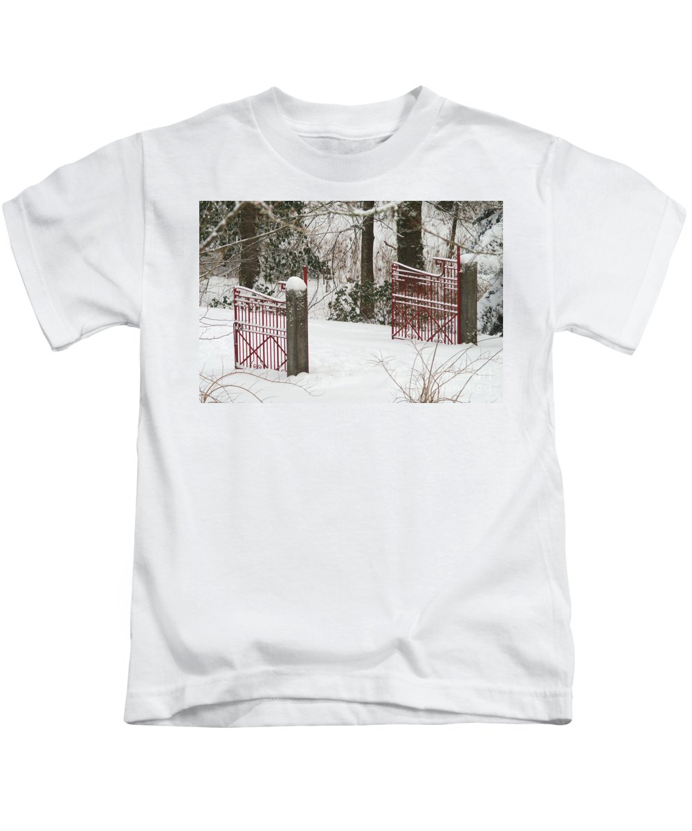 Fences Kids T-Shirt featuring the photograph Double Red Iron Gates by Randy Harris