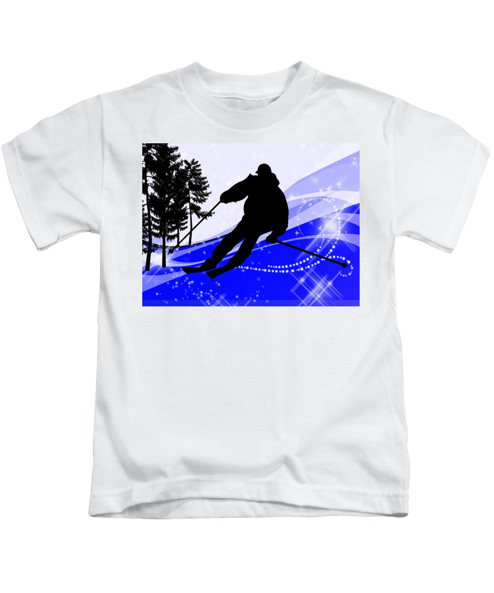 Ski Kids T-Shirt featuring the painting Downhill On The Ski Slope by Elaine Plesser