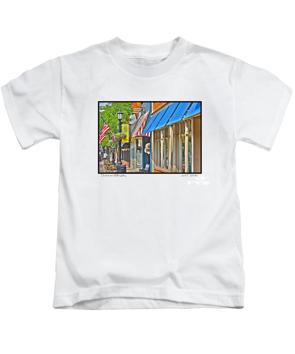 Kids T-Shirt featuring the photograph Downtown Willoughby by Jack Schultz
