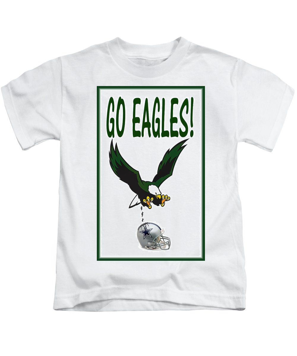 Football Kids T-Shirt featuring the digital art Eagles Vs Dallas by Bill Cannon