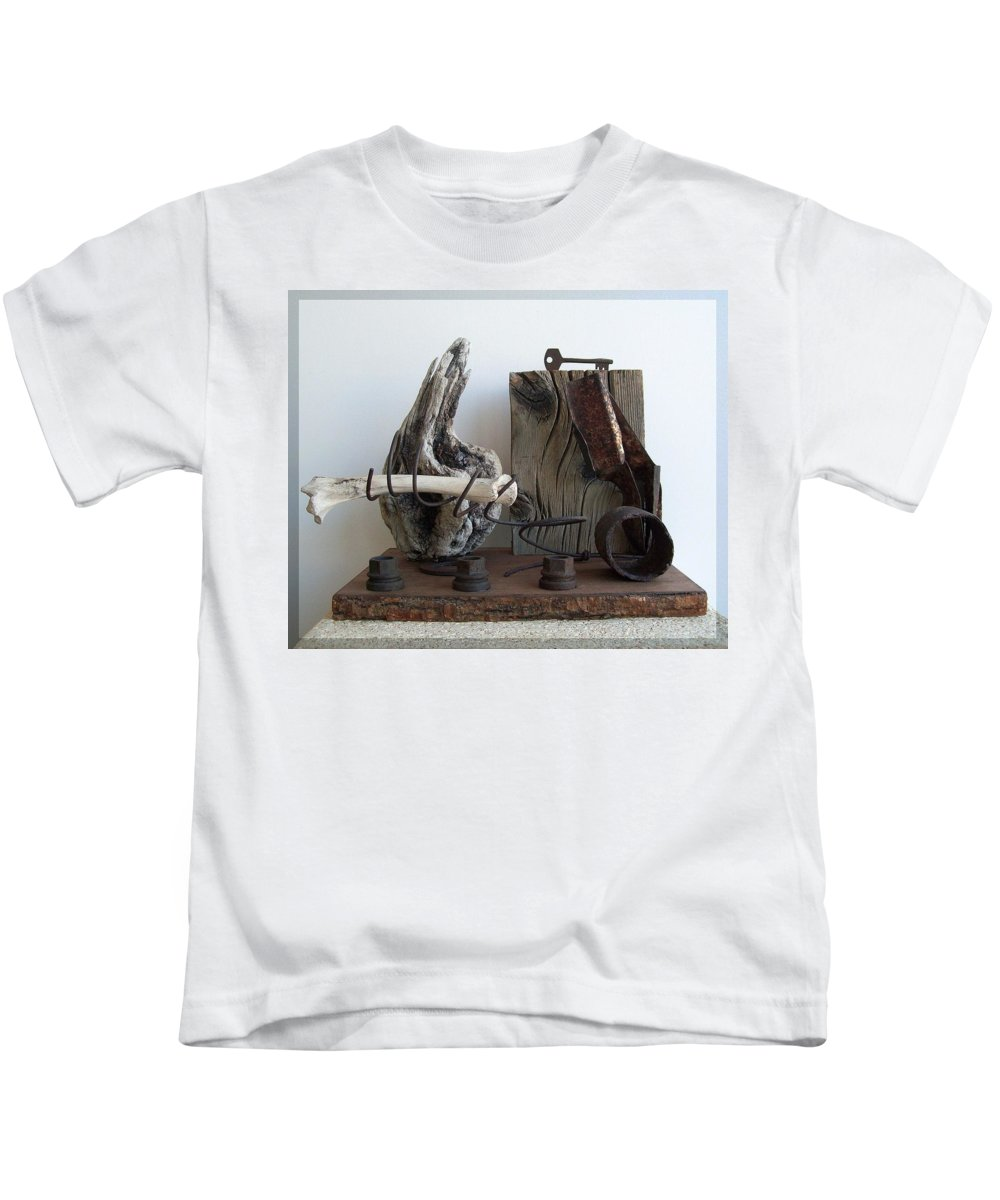 Sculpture Kids T-Shirt featuring the sculpture Earth Radio by Snake Jagger