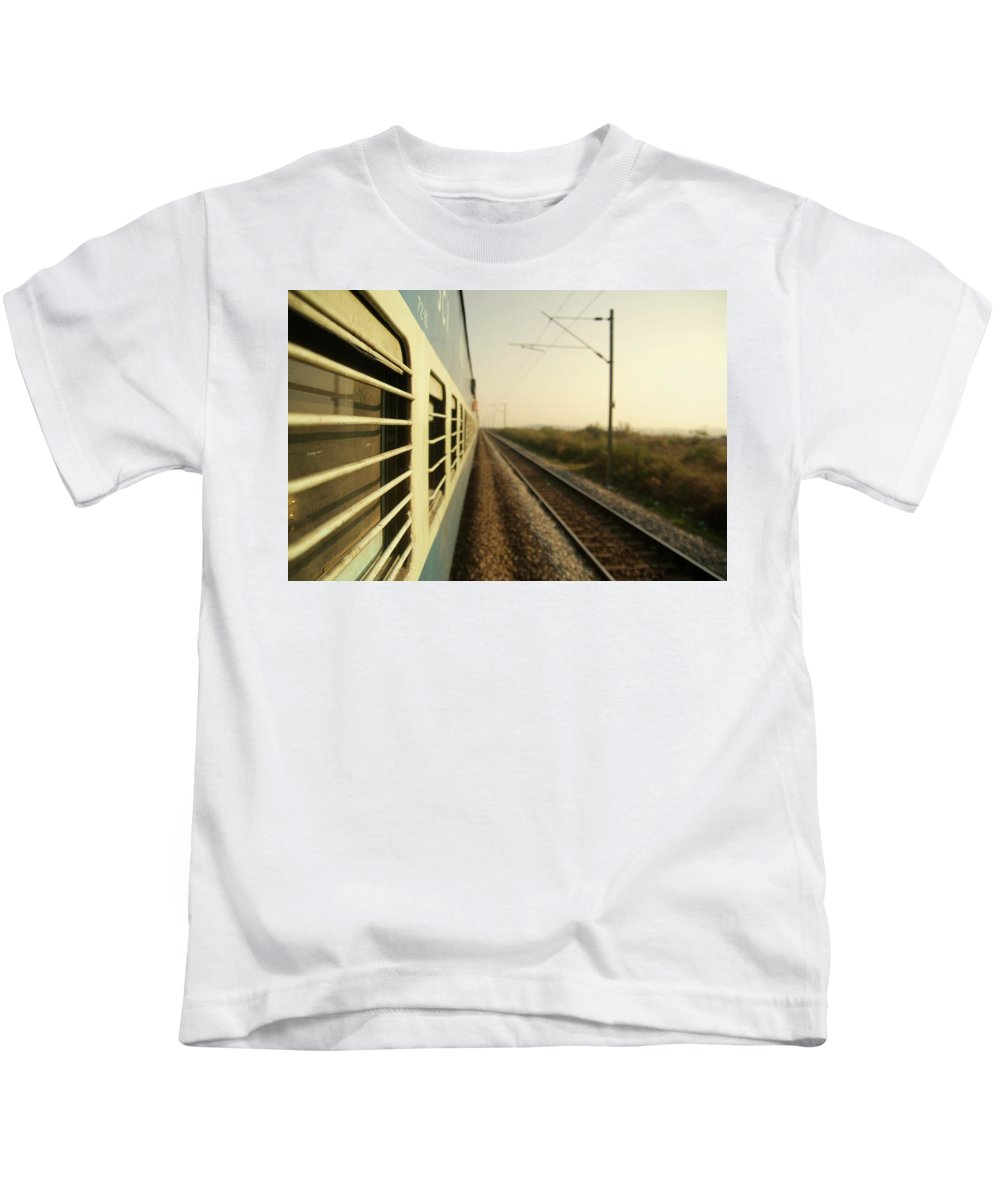 Trains Kids T-Shirt featuring the photograph Eastbound by Valerie Rosen
