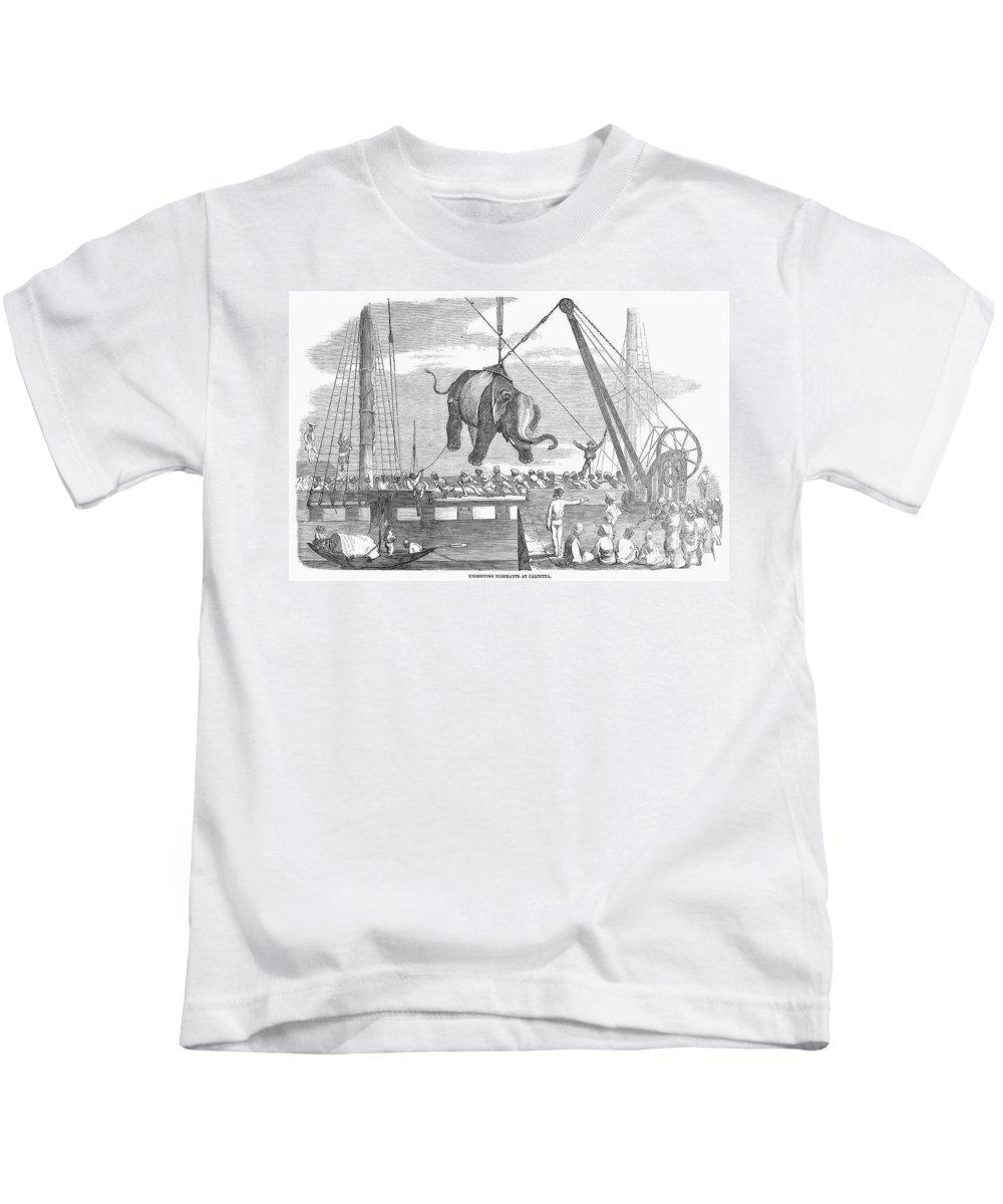 1858 Kids T-Shirt featuring the photograph Elephant Hoist, 1858 by Granger
