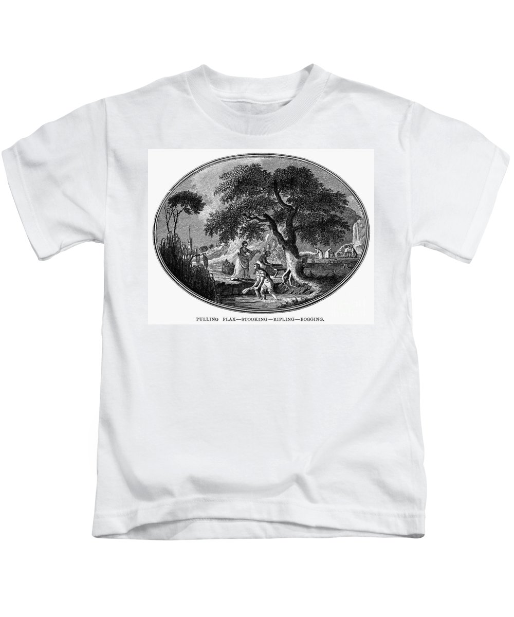 1800 Kids T-Shirt featuring the photograph England: Pulling Flax by Granger