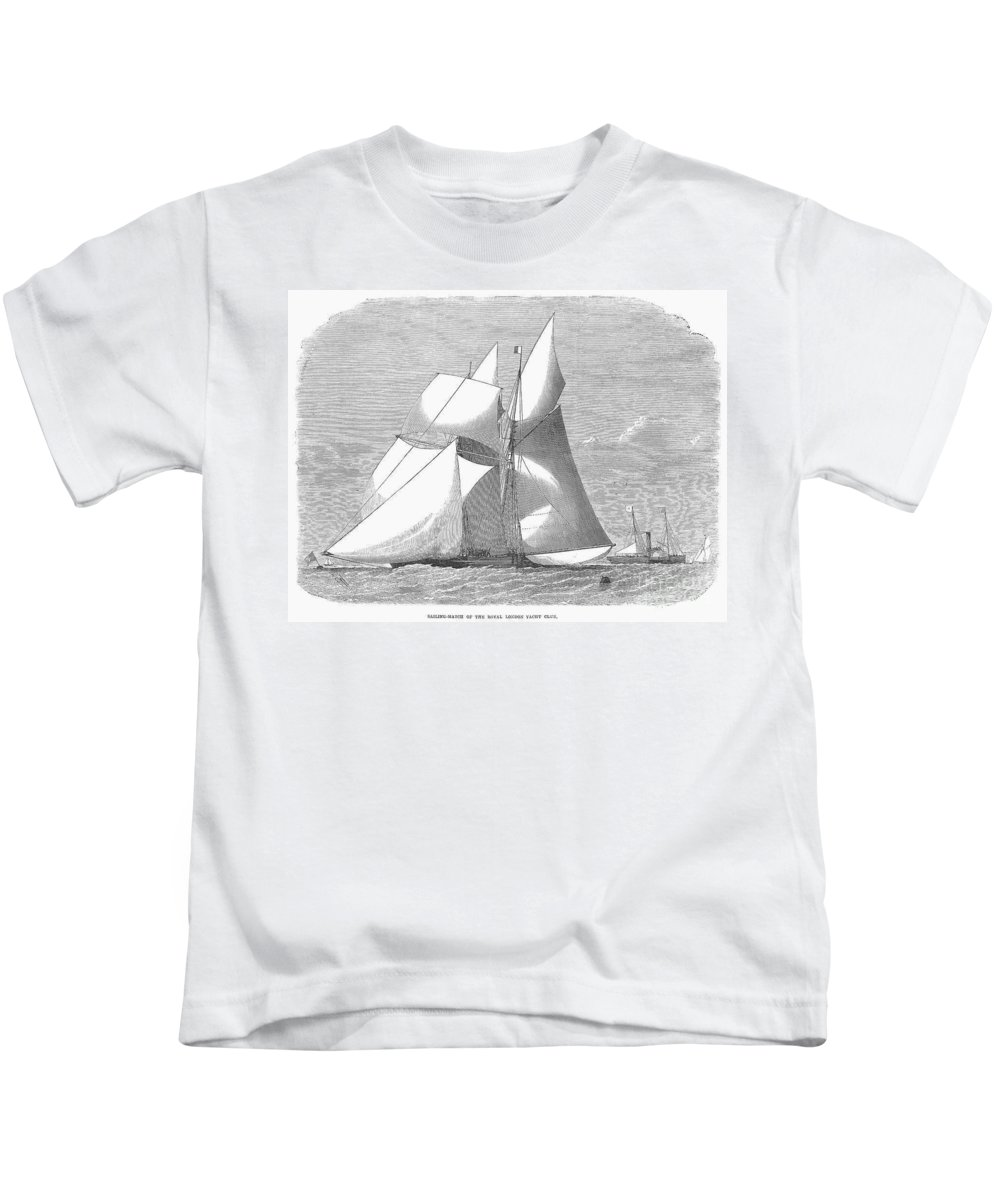 1868 Kids T-Shirt featuring the photograph England: Yacht Race, 1868 by Granger