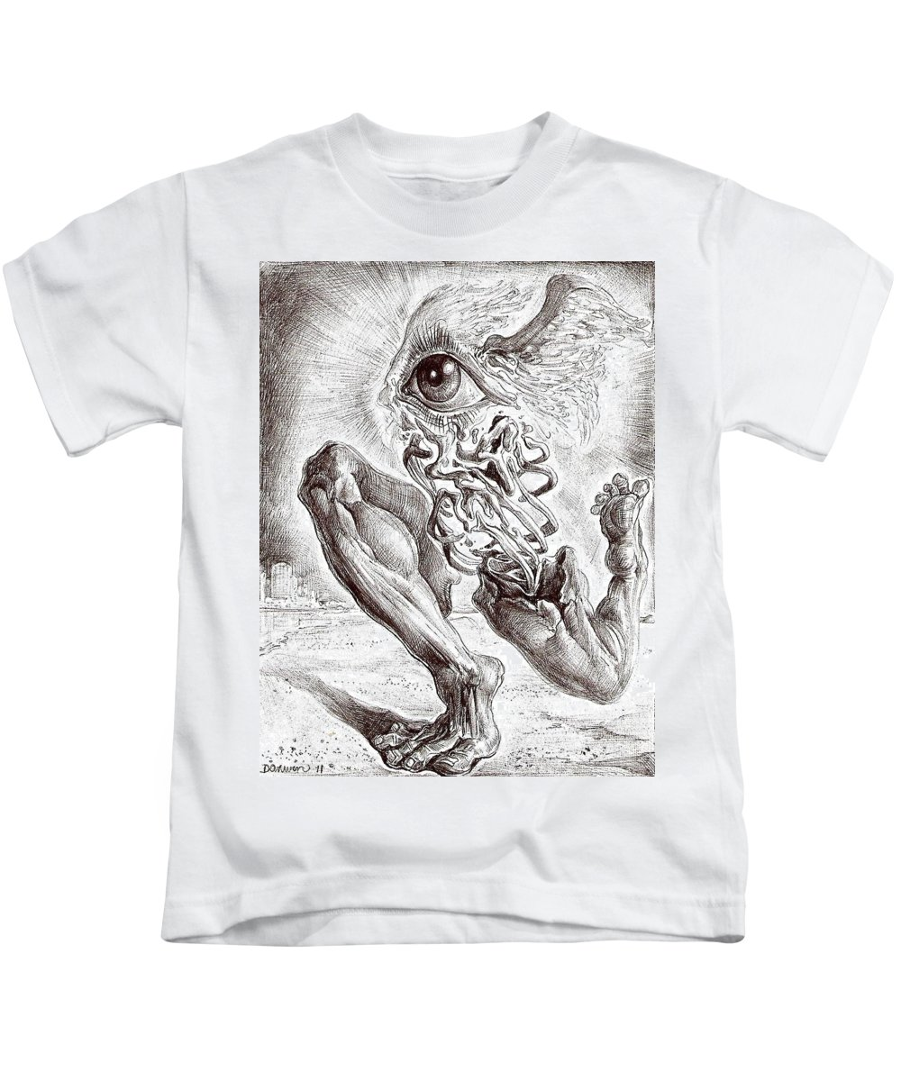Surrealism Kids T-Shirt featuring the drawing Escape From Objective Reality by Darwin Leon