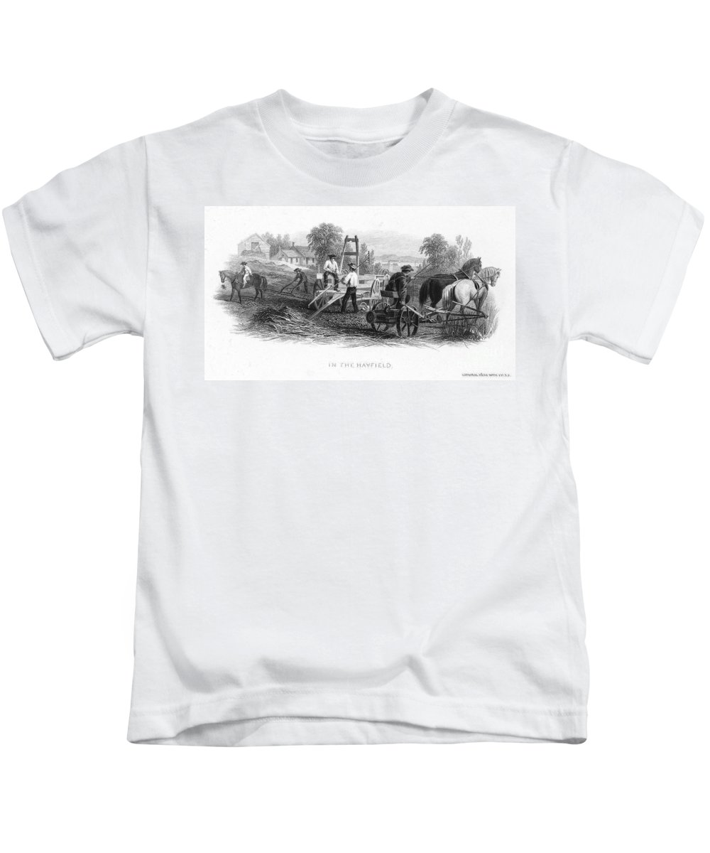 1870 Kids T-Shirt featuring the photograph Farming, C1870 by Granger