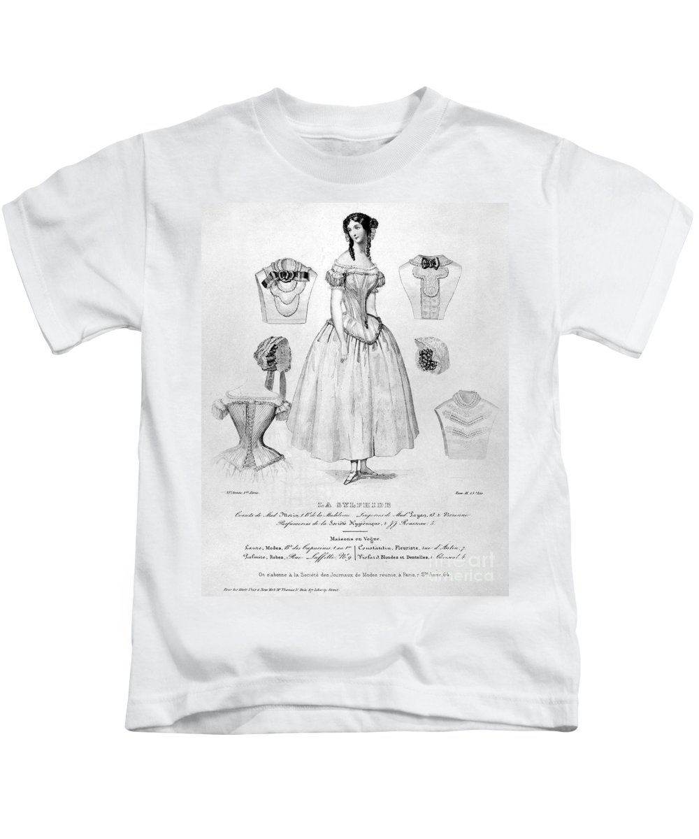 1850 Kids T-Shirt featuring the photograph Fashion: Corset, C1850 by Granger
