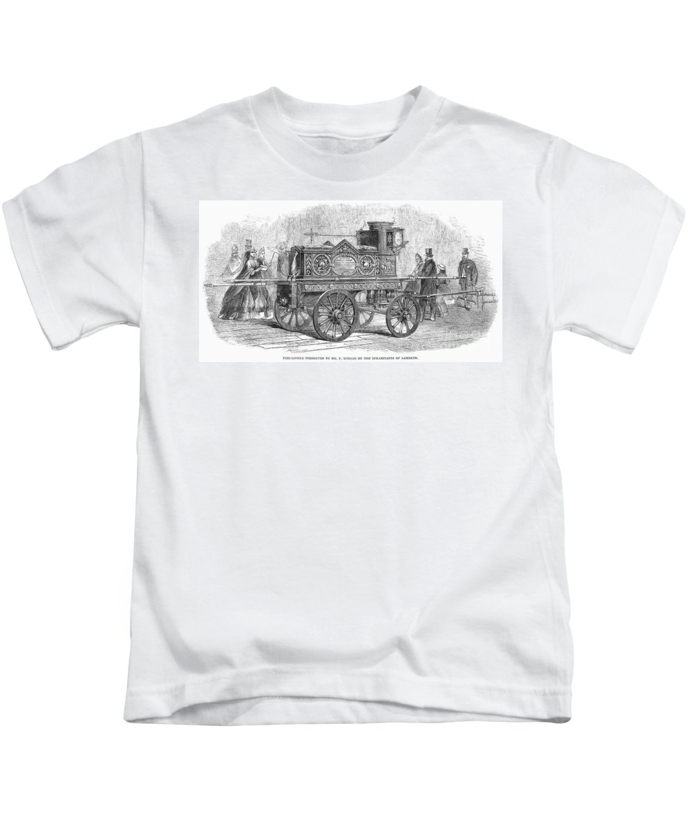 1862 Kids T-Shirt featuring the photograph Fire Engine, 1862 by Granger