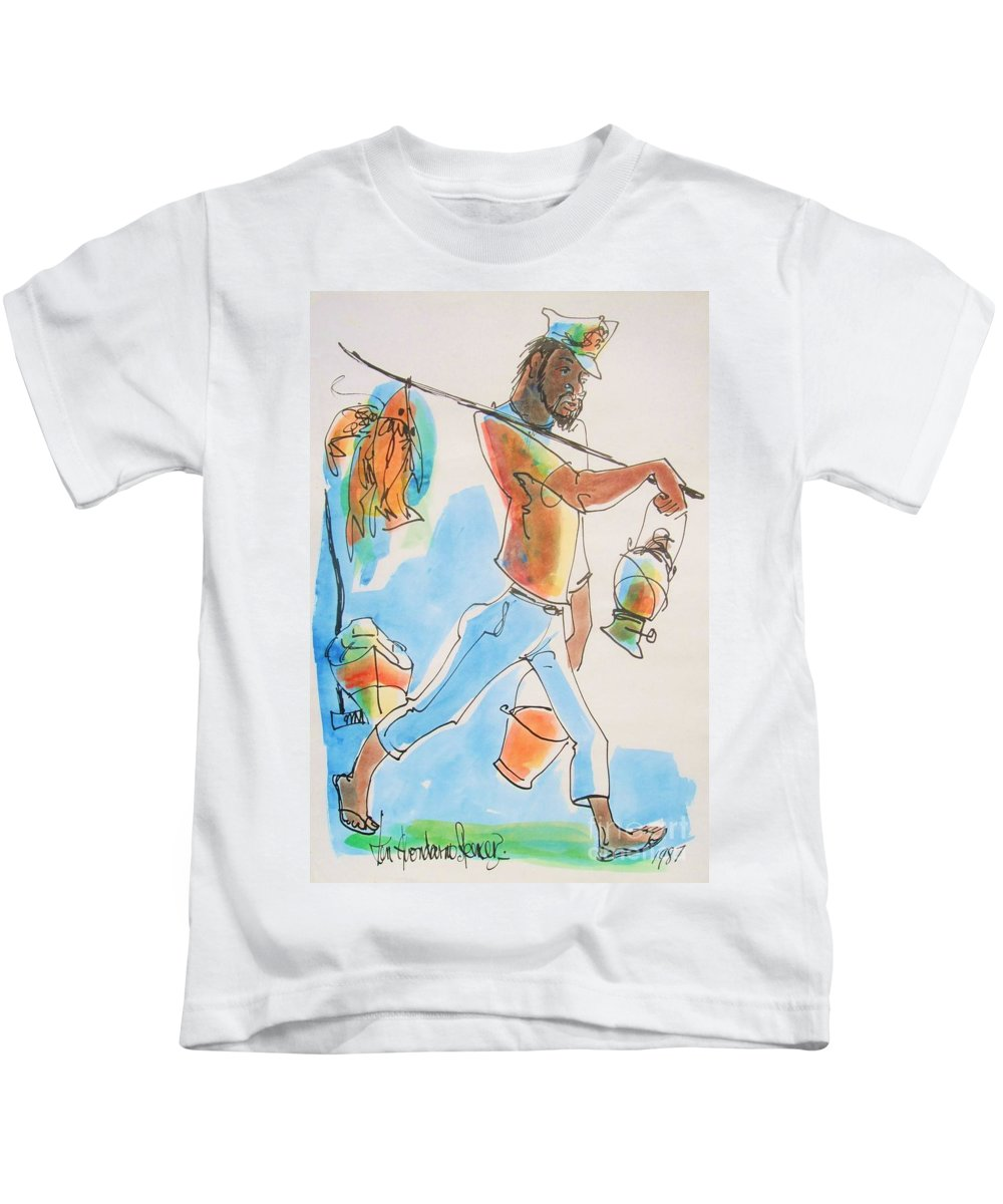 Ken Spencer Kids T-Shirt featuring the painting Fish Man by Carey Chen