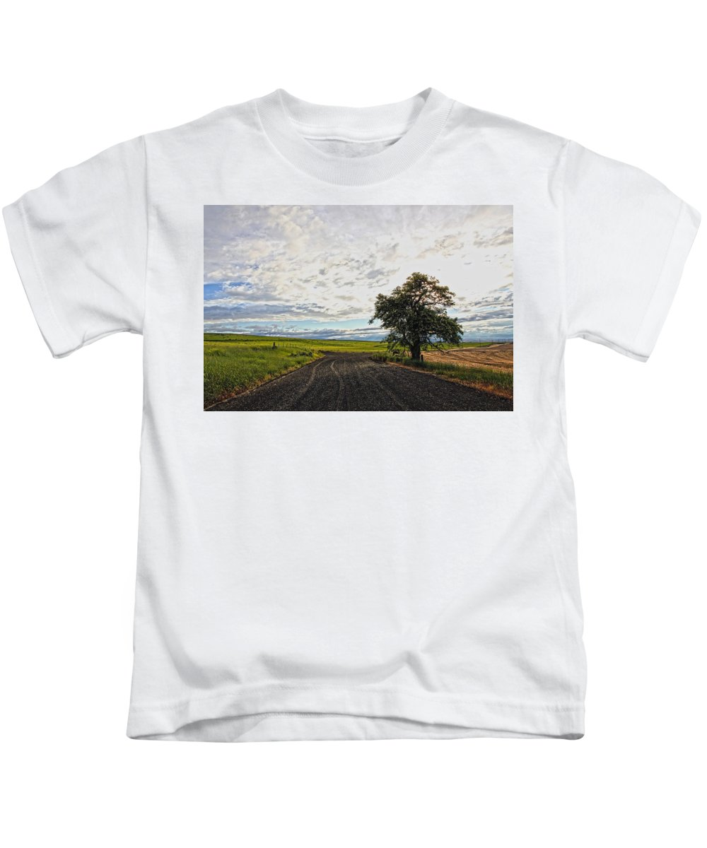 Trees Kids T-Shirt featuring the photograph Follow The Clouds by Athena Mckinzie
