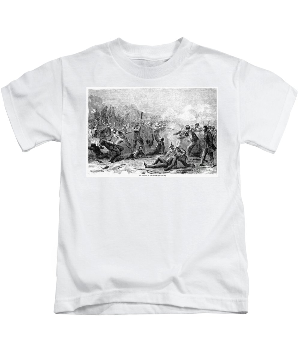 1864 Kids T-Shirt featuring the photograph Fort Pillow Massacre, 1864 by Granger