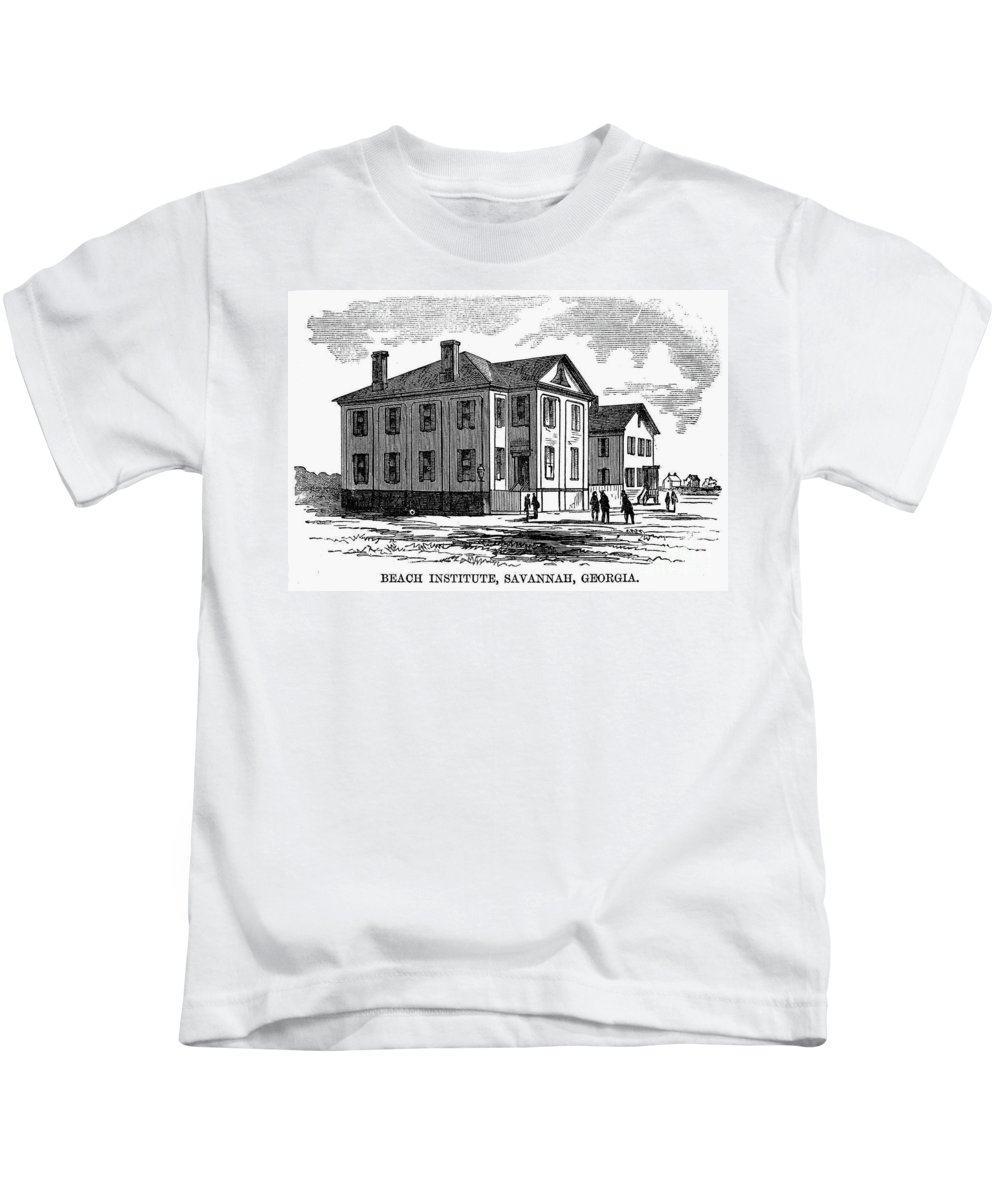1868 Kids T-Shirt featuring the photograph Freedmen School, 1868 by Granger