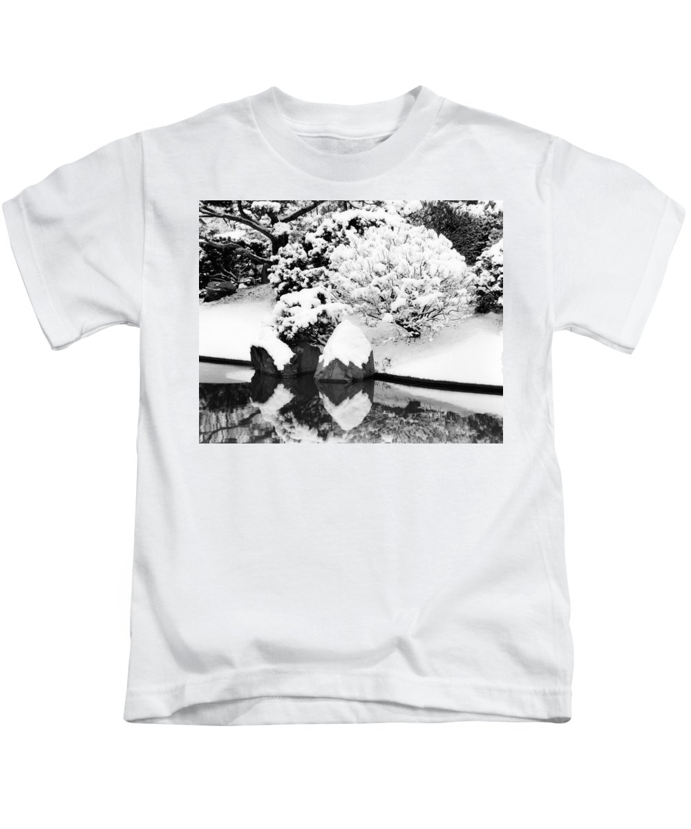 Snow Kids T-Shirt featuring the photograph Fresh Snow And Reflections In A Japanese Garden 1 by Greg Matchick