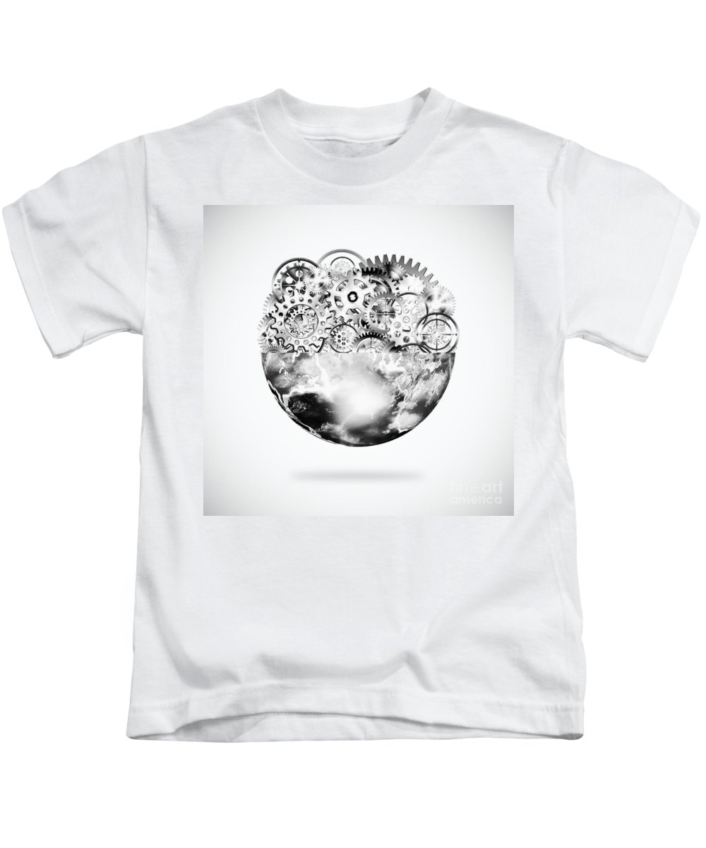 Art Kids T-Shirt featuring the photograph Globe With Cogs And Gears by Setsiri Silapasuwanchai