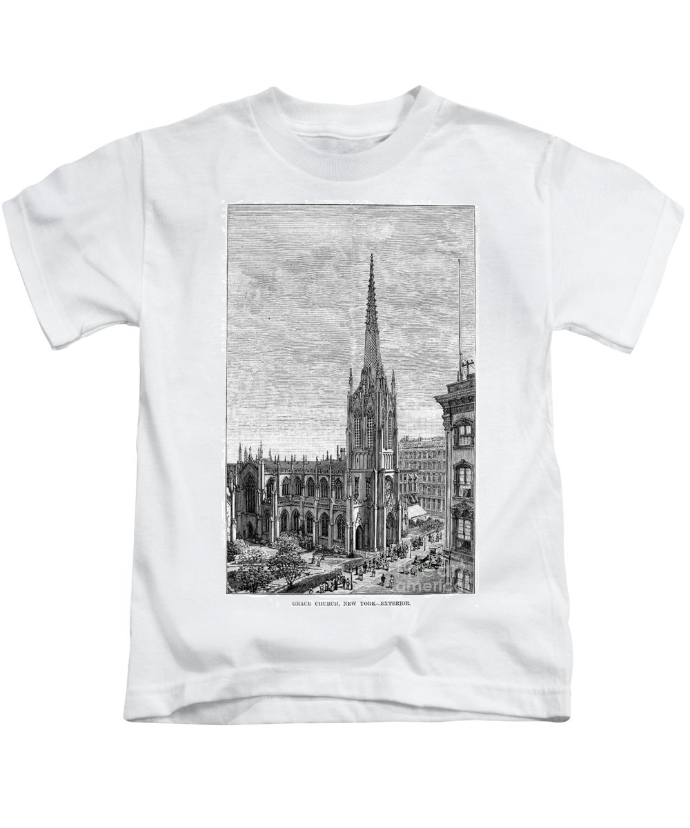 1883 Kids T-Shirt featuring the photograph Grace Church, 1883 by Granger