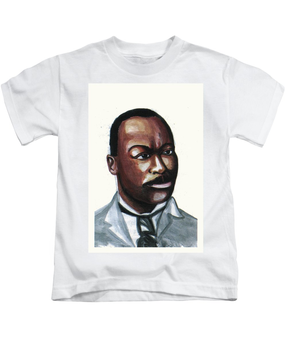 Portraits Kids T-Shirt featuring the painting Granville Woods by Emmanuel Baliyanga
