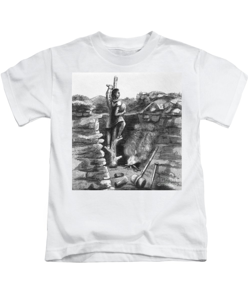 1854 Kids T-Shirt featuring the photograph Great Lakes: Ancient Miner by Granger
