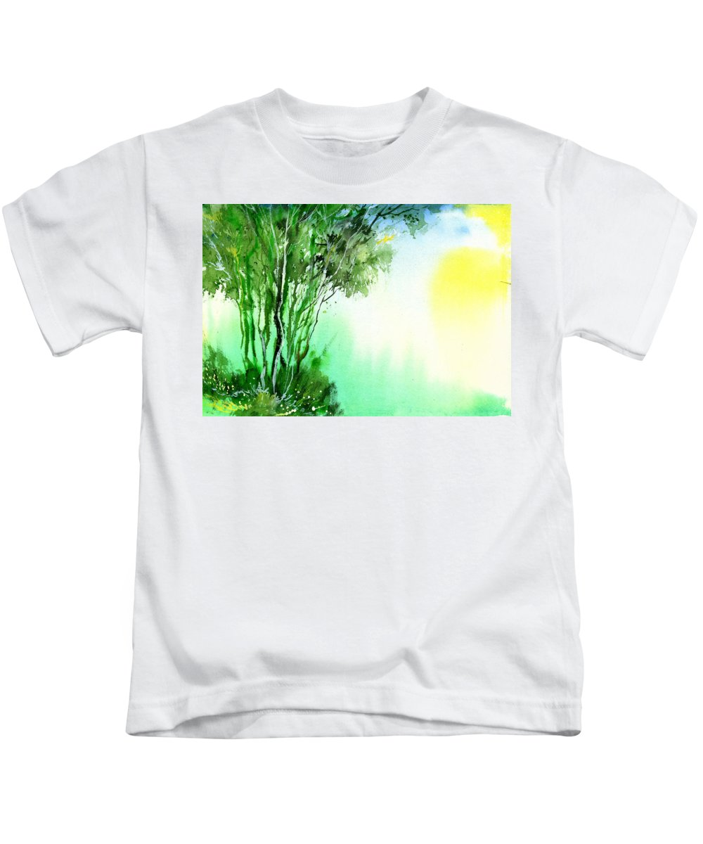 Nature Kids T-Shirt featuring the painting Green 1 by Anil Nene