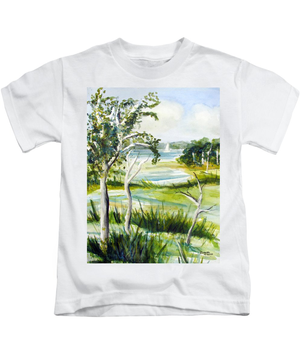 Jersey Pine Barrens Kids T-Shirt featuring the painting Green Land by Clara Sue Beym